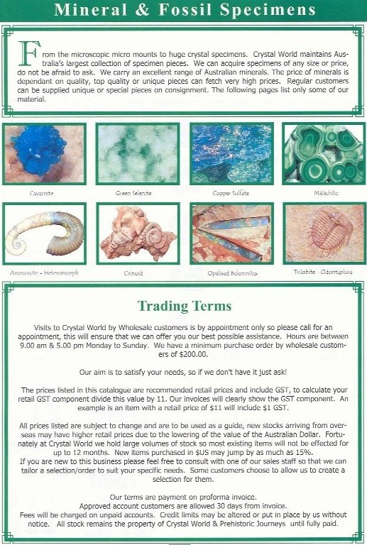 Crystal World - fossils, crystals, minerals, meteorites and