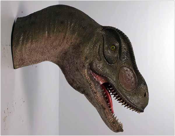 Allosaurus head, mouth open